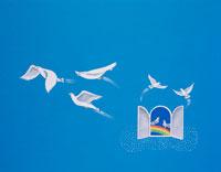 空の扉を開けて平和の鳩がとぶ