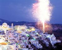 サントリーニ島の花火