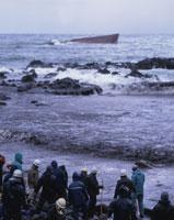 重油汚染除去作業 三国町安島岬 ロシアのタンカー