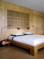 Wooden panelling in Japanese style bedroom of residential house, Russia.