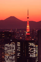 富士山と東京タワーの夕景