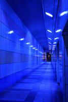 青色防犯灯が灯る歩道