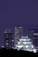 名古屋城と高層ビル群の夜景