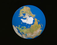 北極中心の地球