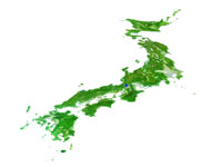 日本列島 鳥瞰図(海白)