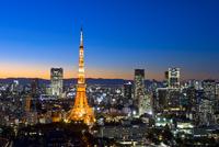 東京タワーと東京の街の夜景 25991003023  写真素材・ストックフォト・画像・イラスト素材 アマナイメージズ
