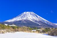 富士山と富士ヶ嶺の雪景色
