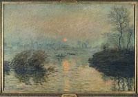 ラバクールのセーヌ河の日の入り、冬の効果