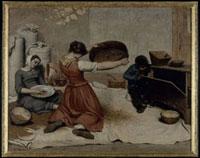 小麦をふるいにかける女