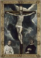 Le Christ en croix adore par deux donateurs/キリストの磔刑と