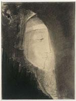 ヴェールをかぶった女性の横顔
