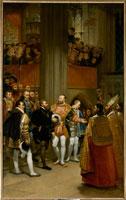 フランソワ1世の出迎えを受けるカール5世