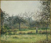 果樹園の中の農婦,秋の朝