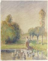 牧草地の若い女
