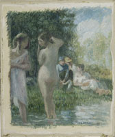川べりで水浴する人々