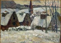 雪のブルターニュの村