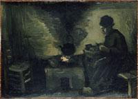 暖炉の前の農婦 26004016625| 写真素材・ストックフォト・画像・イラスト素材|アマナイメージズ
