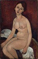 座っている裸婦
