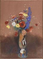 長い首の花瓶の野の花