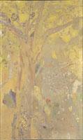 装飾画,黄色の木々