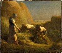 干草を束ねる人々
