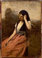 左手をまげた赤い服の若い女