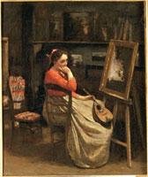 コローのアトリエ,マンドリンを持つ若い女