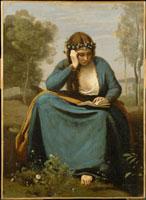 花の冠をつけた本を読む女性