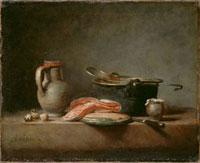 銅鍋,杓子,水差し,一切れの鮭