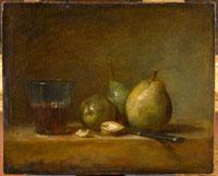 梨,胡桃とブドウ酒のコップ
