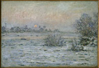 黄昏れの雪の風景