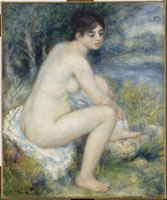 足を拭う水浴の女