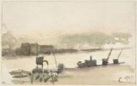 船とクレーンのある河川