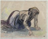 跪いて草をとるスカーフの農婦