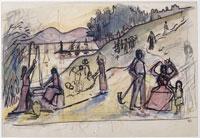 井戸端の女たち(下絵1)