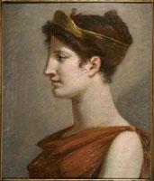 王冠をつけた若い女性(「富」の下絵)