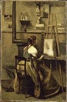 コローのアトリエ、画架の前に座る若い女