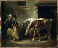 馬小屋の入り口にいる2頭の馬 26004017846| 写真素材・ストックフォト・画像・イラスト素材|アマナイメージズ