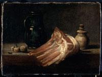 台所のテーブルと羊の肉