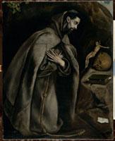 十字架の前で祈る聖フランソワ