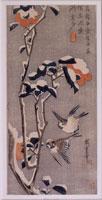 雪中椿に雀(大短冊ー花鳥) 26004018505| 写真素材・ストックフォト・画像・イラスト素材|アマナイメージズ
