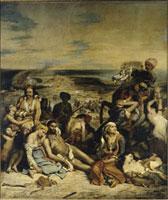 Scene des massacres de Scio : familles grecques attendant
