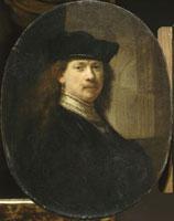 Rembrandt a la toque sur fond d�farchitecture