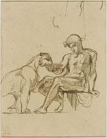 Ephebe assis donnant a boire dans une coupe a une lionne ou 26004019300| 写真素材・ストックフォト・画像・イラスト素材|アマナイメージズ