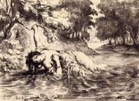 Suite lithographique �hHamlet�h , le suicide d�fOphelie