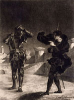 Suite lithographique �hHamlet�h , Hamlet terrifie par le Fan