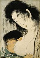 Yamauba et Kintaro , la tetee