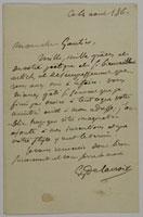 Lettre autographe a Theophile Gautier, Juillet 1861