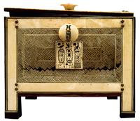 Coffret de bois avec incrustations d'ivoire en decor de vann