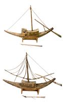 Deux modeles de barque funeraire a cabine centrale